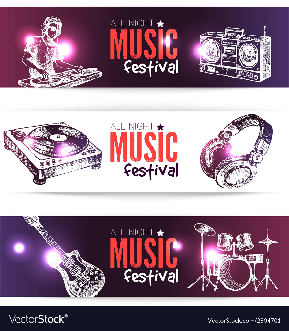 Banners of music design set of hand drawn sketch vector | Price: 1 Credit (USD $1)