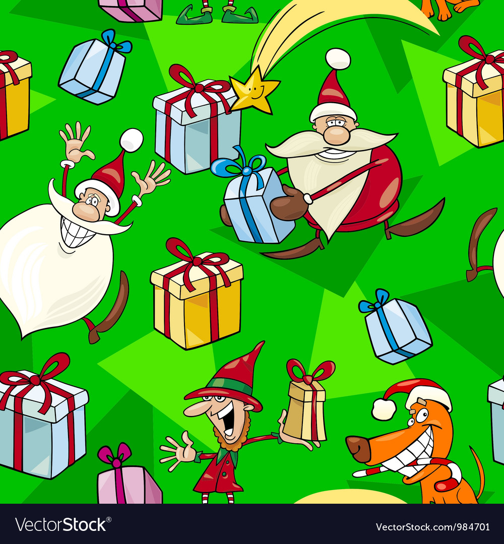 Christmas cartoon seamless pattern vector | Price: 1 Credit (USD $1)