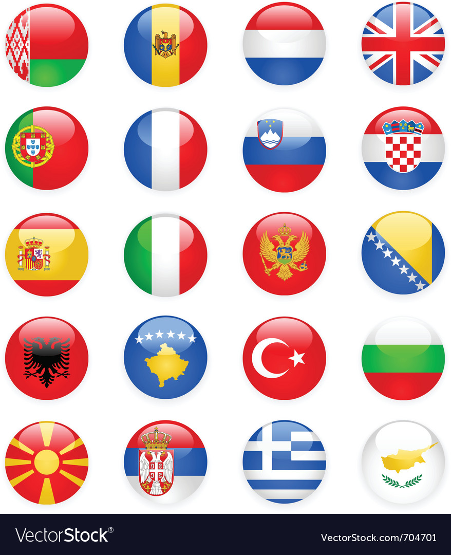 Europe flags buttons part one vector | Price: 1 Credit (USD $1)