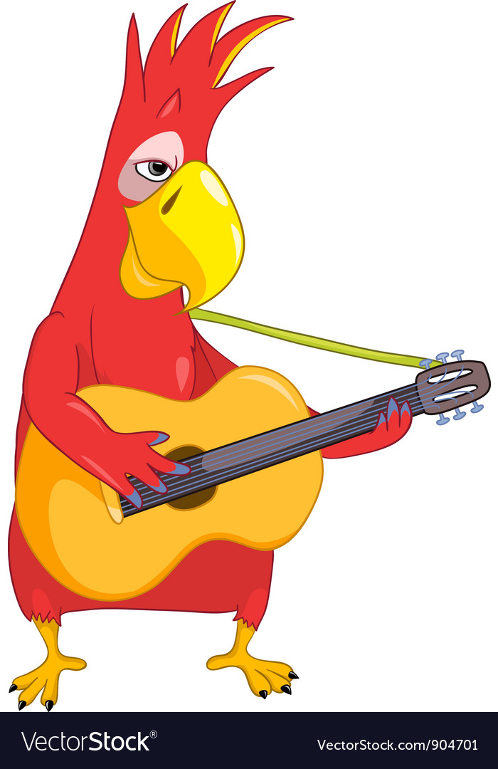 Funny parrot guitarist vector | Price: 3 Credit (USD $3)