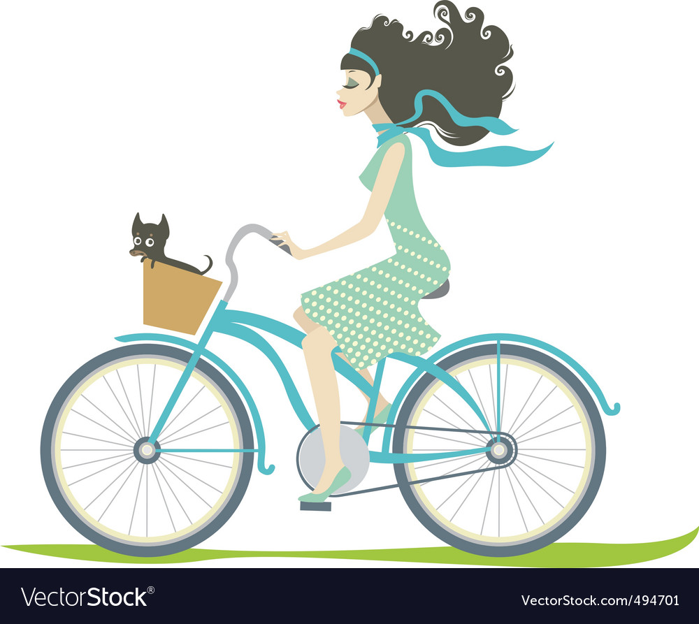 Girl cycling vector | Price: 3 Credit (USD $3)