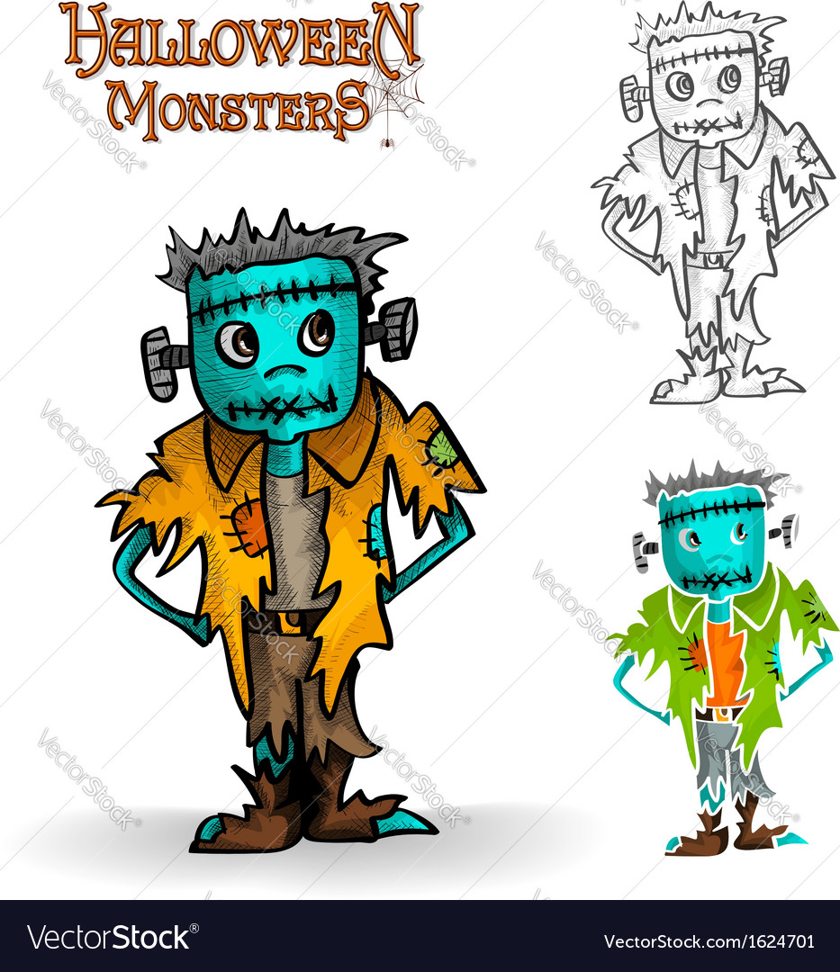 Halloween monster spooky zombie eps10 file vector | Price: 1 Credit (USD $1)