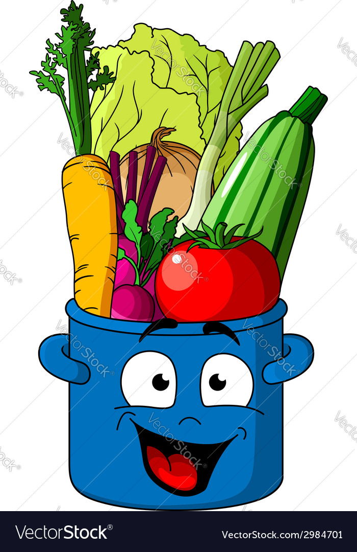 Healthy fresh vegetables in blue pot vector | Price: 1 Credit (USD $1)