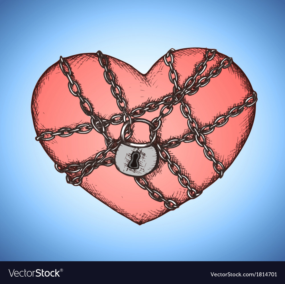 Locked heart with chains emblem vector | Price: 1 Credit (USD $1)