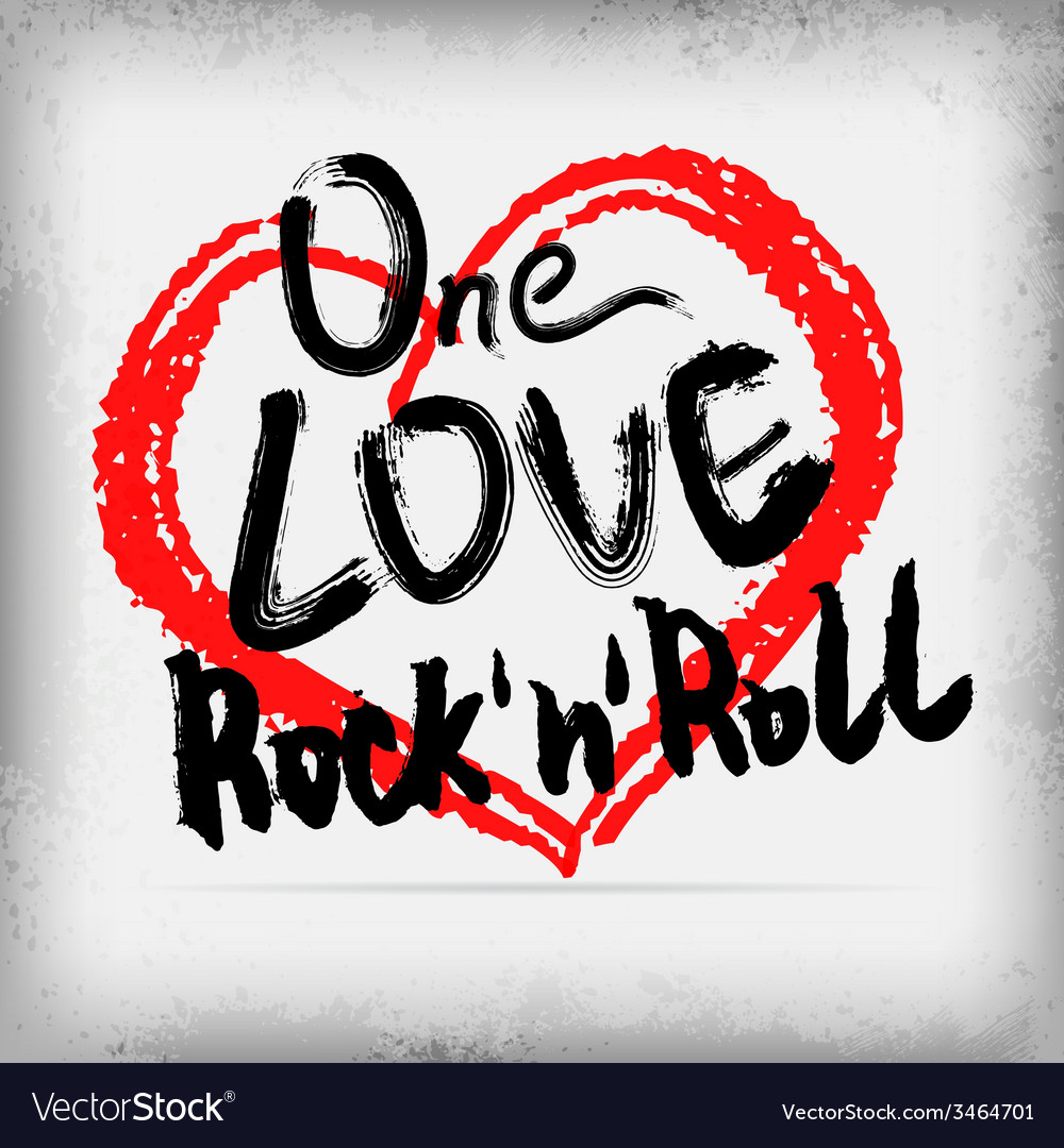 One love rocknroll poster handwritten design vector | Price: 1 Credit (USD $1)