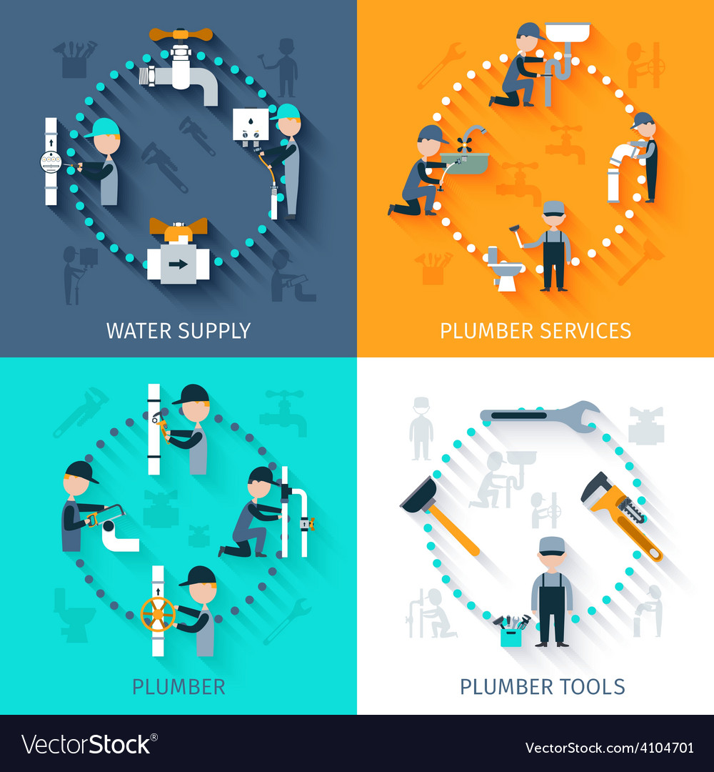 Plumber flat set vector | Price: 1 Credit (USD $1)