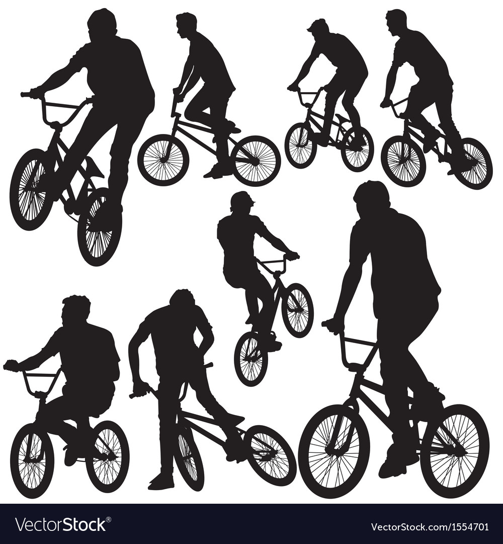 Ride bike silhouette vector | Price: 1 Credit (USD $1)