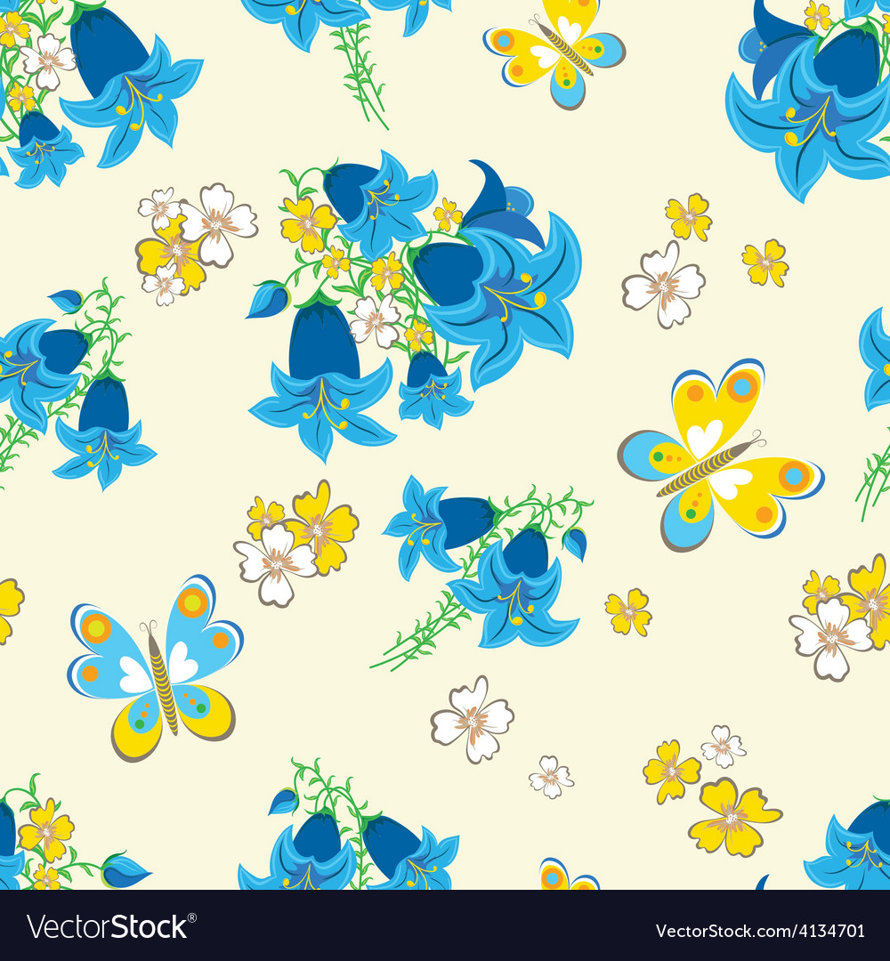 Seamless floral background with butterflies vector | Price: 1 Credit (USD $1)