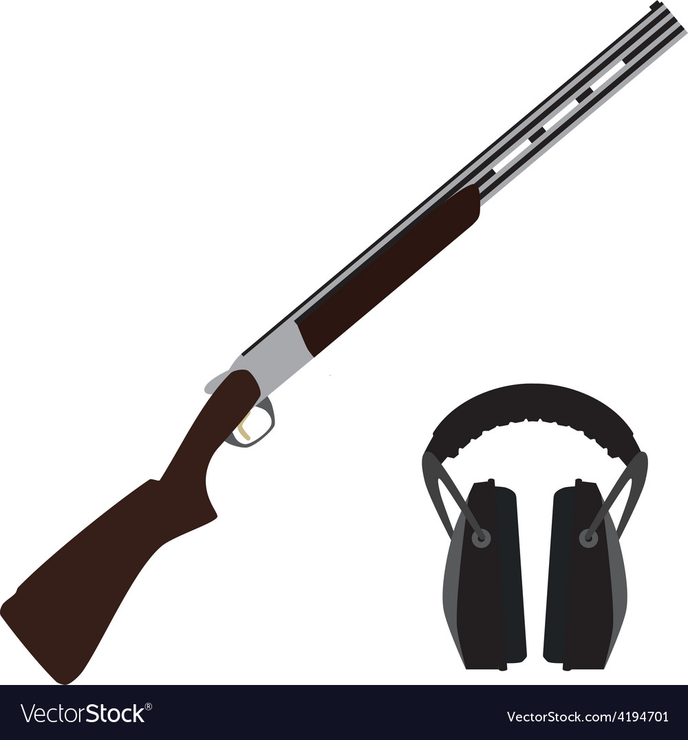 Skeet rifle and headphones for shooting vector | Price: 1 Credit (USD $1)