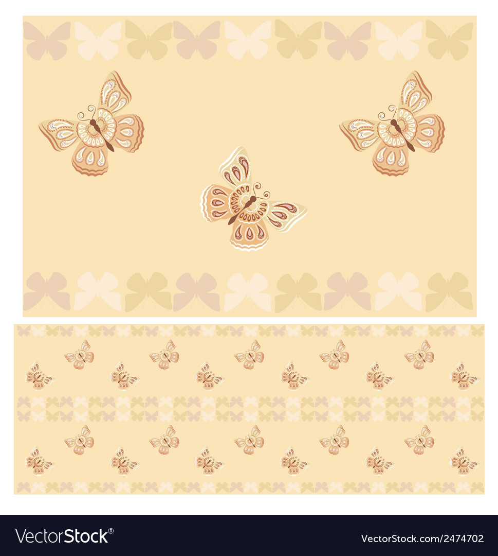 Beige butterflies seamless pattern vector | Price: 1 Credit (USD $1)
