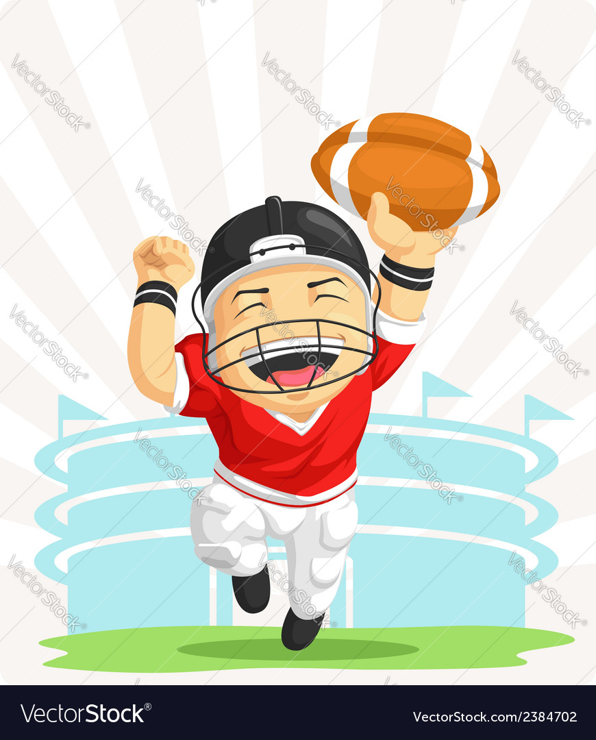 Cartoon of happy football player vector | Price: 1 Credit (USD $1)