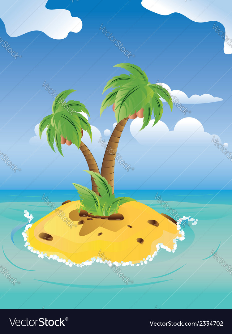 Cartoon palm island3 vector | Price: 1 Credit (USD $1)