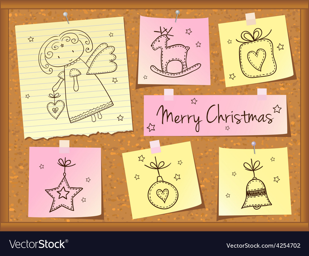 Christmas doodles with angel vector | Price: 1 Credit (USD $1)