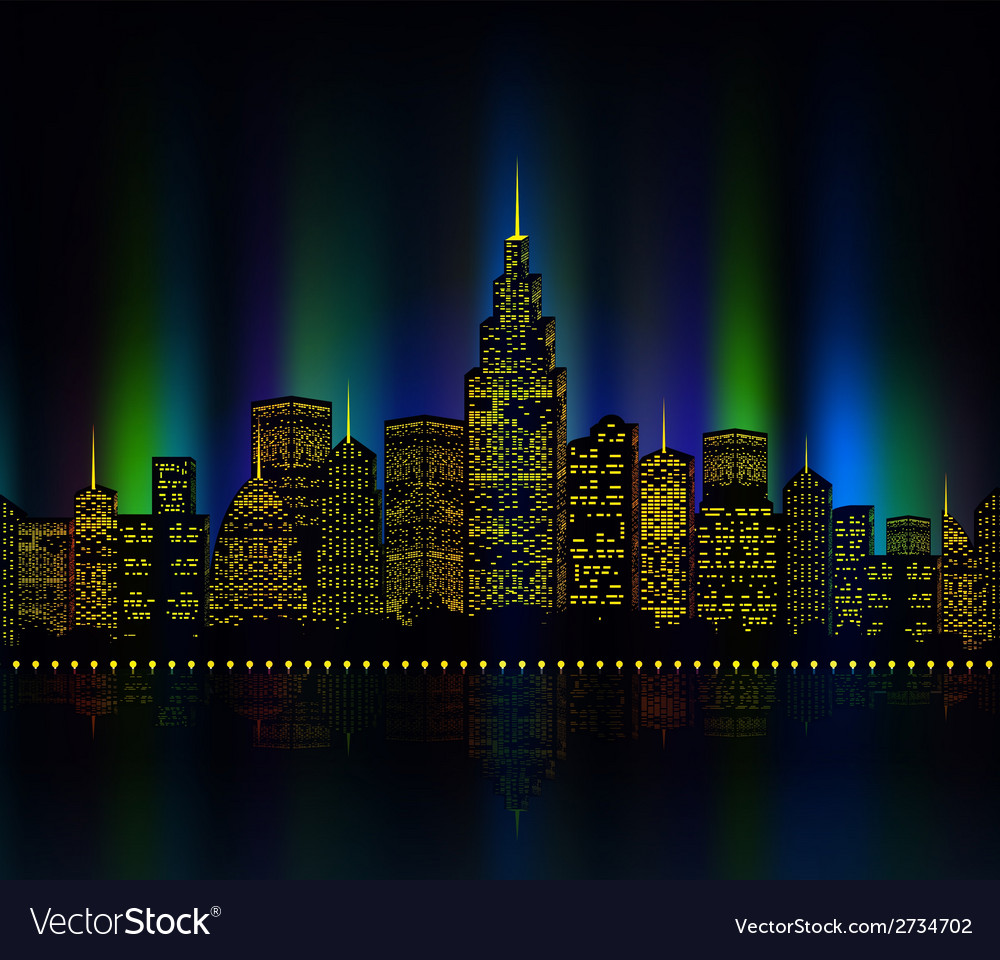 City lights cityscape colourful vector | Price: 1 Credit (USD $1)