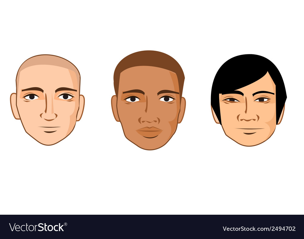 Collection of cartoon man faces of different races vector | Price: 1 Credit (USD $1)