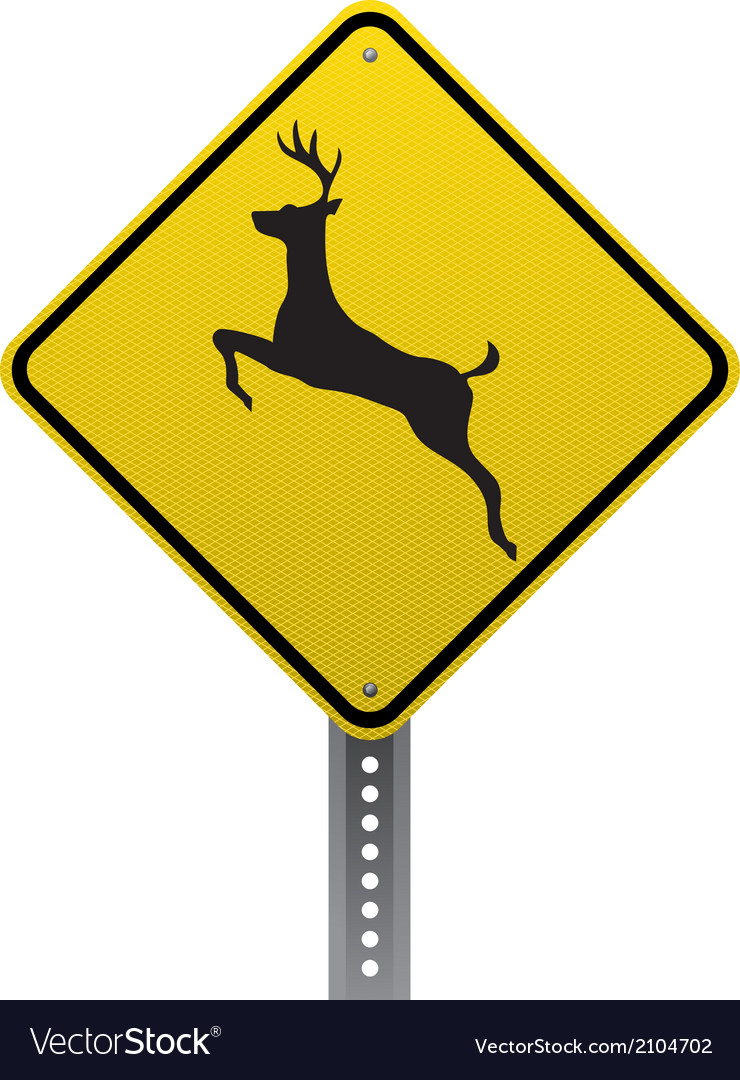 Deer crossing sign vector | Price: 1 Credit (USD $1)