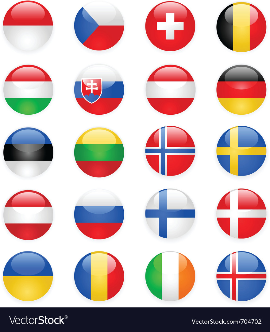 Europe flags buttons part two vector | Price: 1 Credit (USD $1)