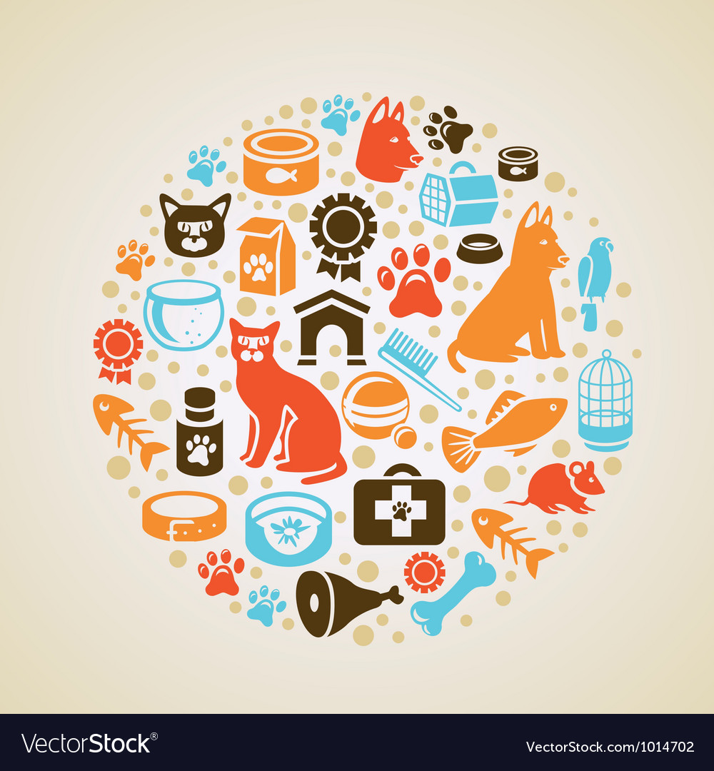 Frame with cat and dog icons vector | Price: 1 Credit (USD $1)