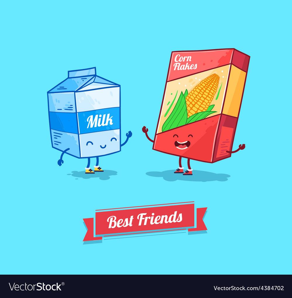 Funny cartoon funny cornflake and milk vector | Price: 1 Credit (USD $1)