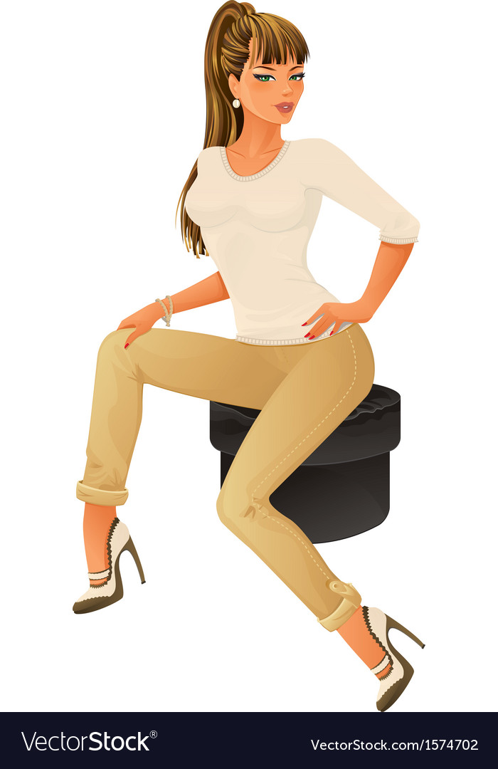 Girl sitting vector | Price: 3 Credit (USD $3)