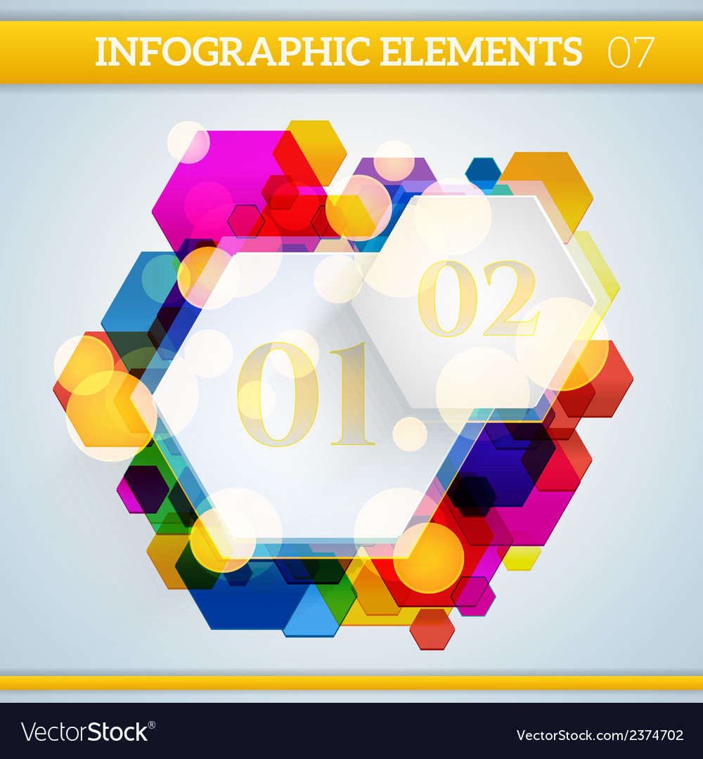 Info graphic hexagonal paper elements on abstract vector | Price: 1 Credit (USD $1)