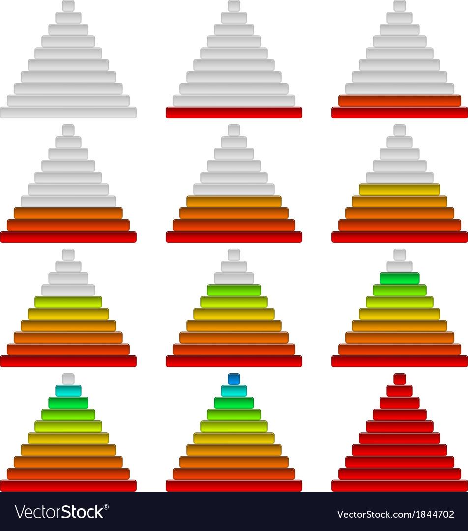 Progress bars set pyramids vector | Price: 1 Credit (USD $1)