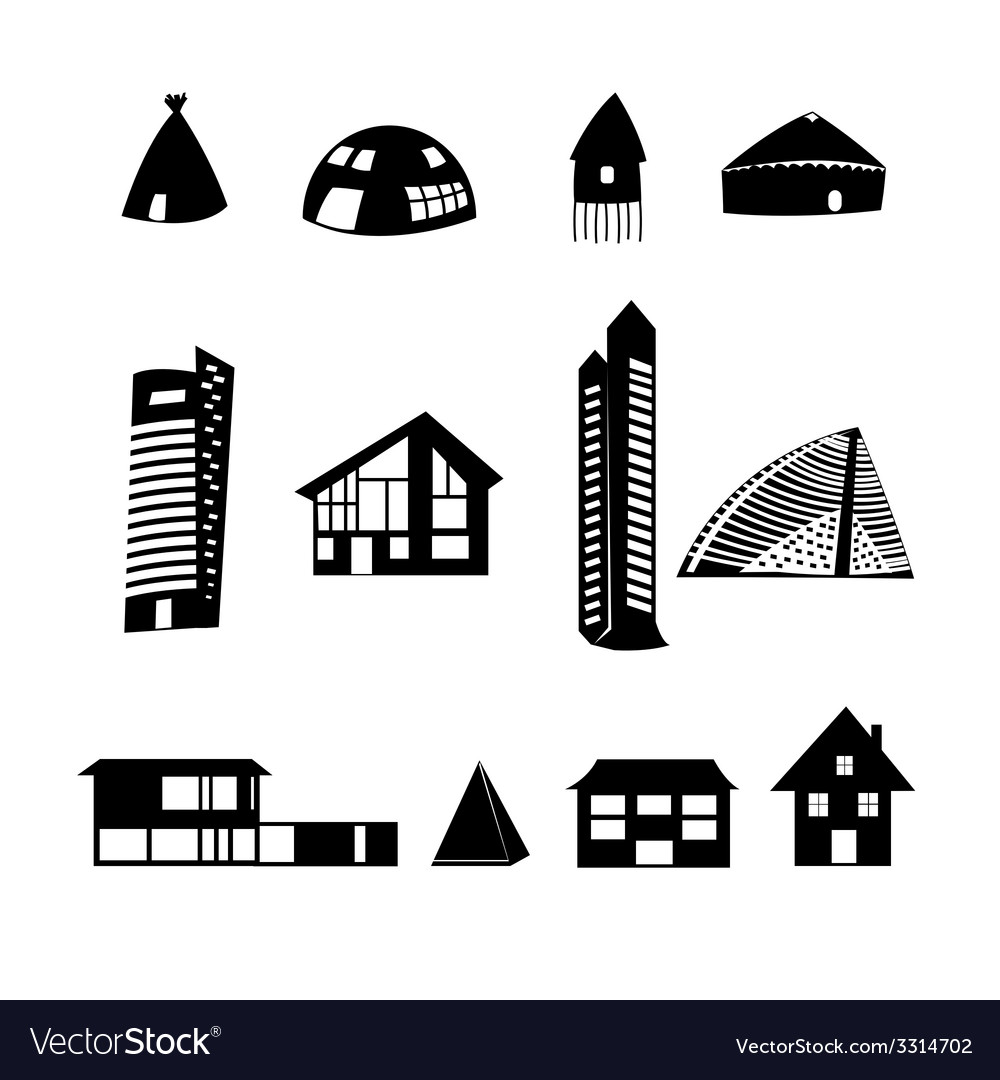 Set of different buildings vector | Price: 1 Credit (USD $1)