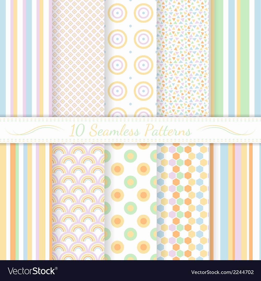 Set of ten seamless retro patterns vector | Price: 1 Credit (USD $1)