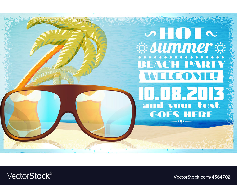Summer beach party invitation glasses on the sand vector | Price: 3 Credit (USD $3)