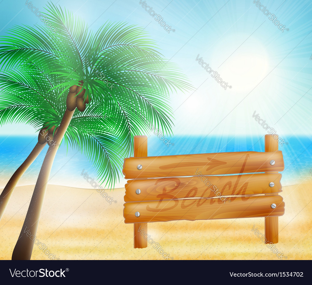 Summer sea beach and wooden sign vector | Price: 1 Credit (USD $1)