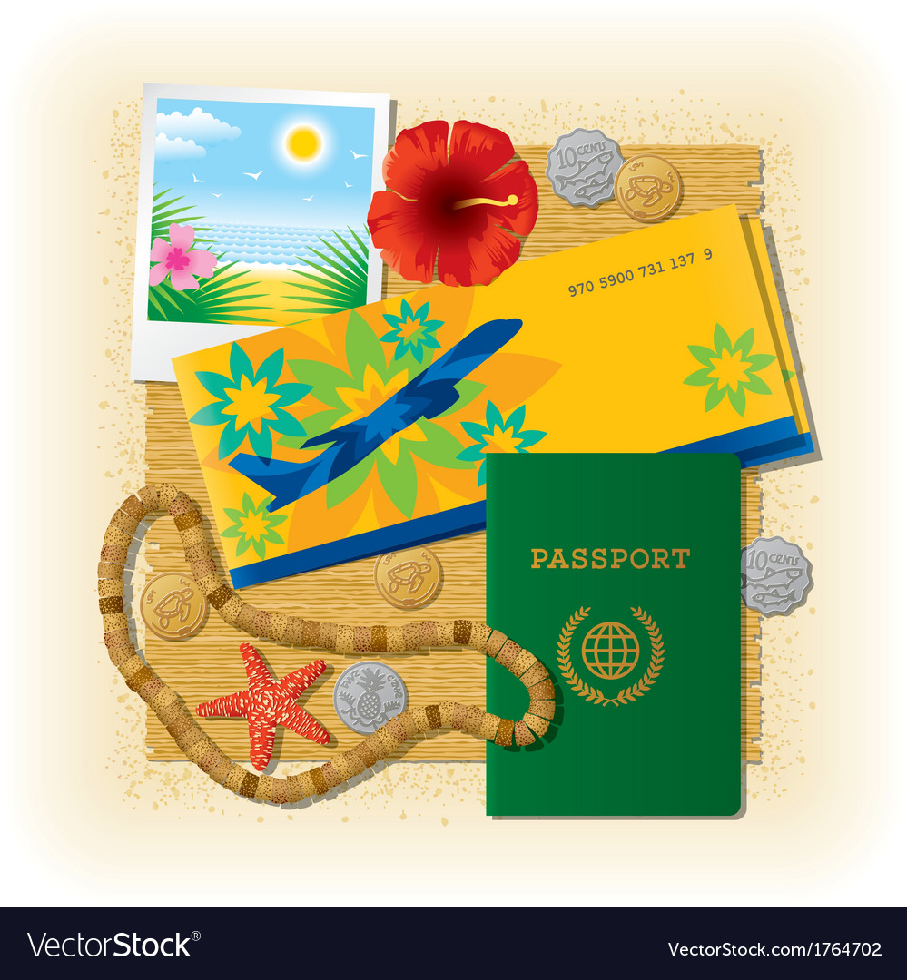 Tropical travel still life vector | Price: 1 Credit (USD $1)