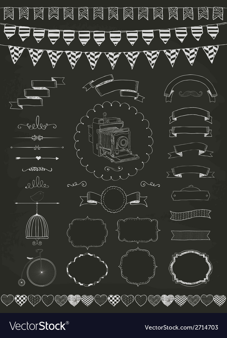 Collection of banners ribbons and frames vector