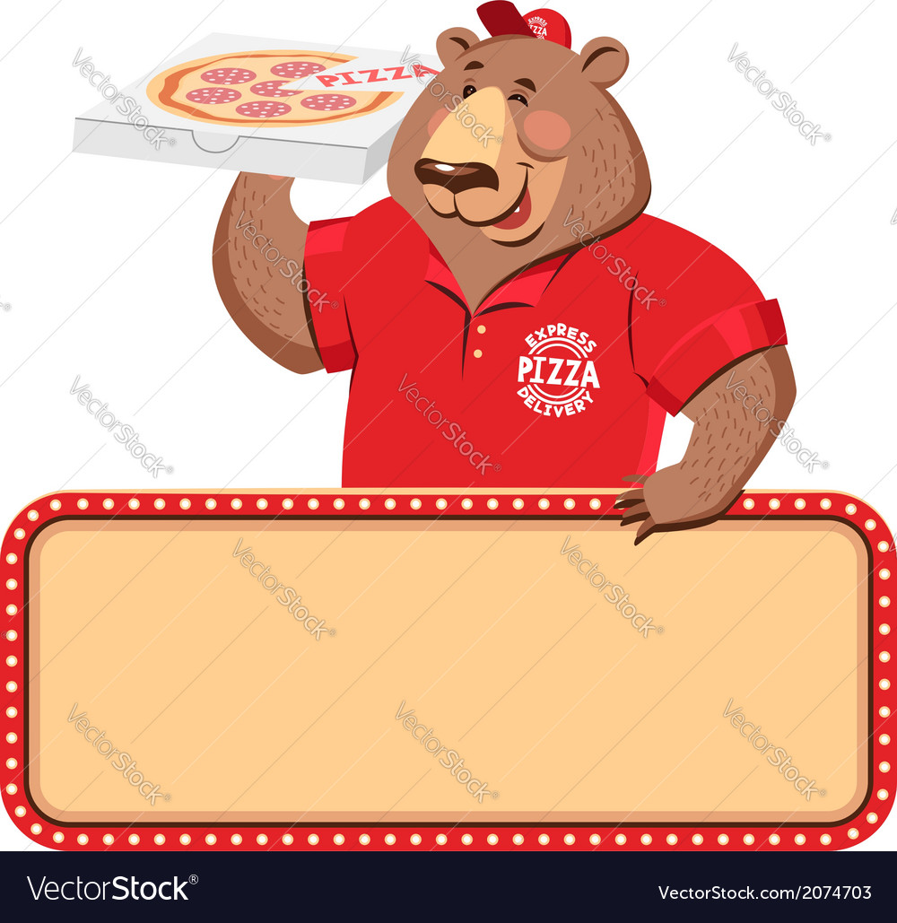 Delivery bear banner vector | Price: 1 Credit (USD $1)