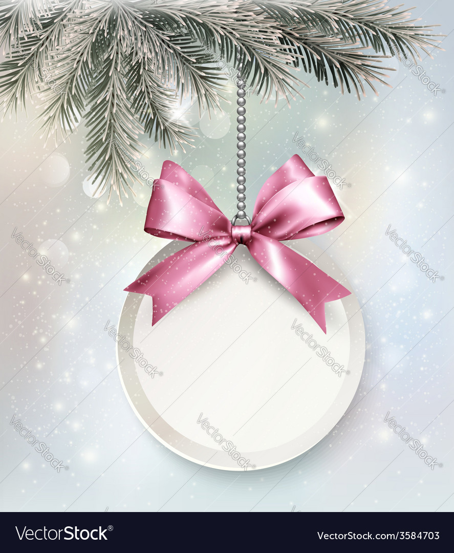 Holiday background with a label and a bow vector   Price: 3 Credit (USD $3)