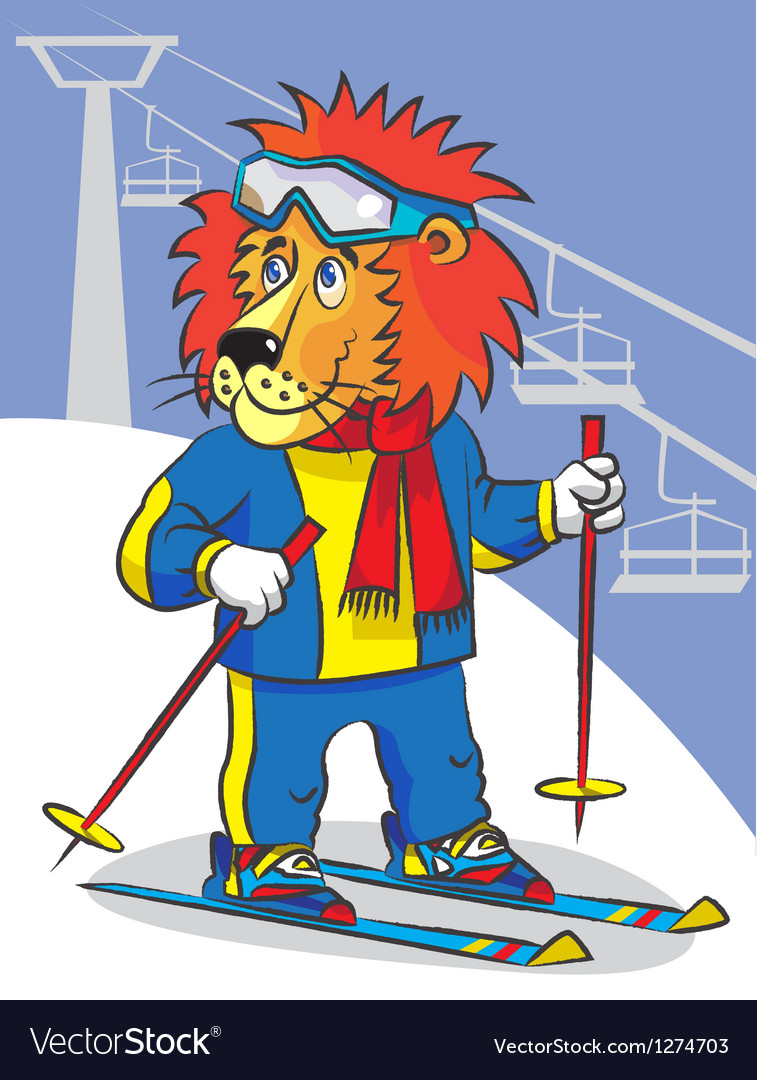 Lion is mountain skier vector | Price: 1 Credit (USD $1)