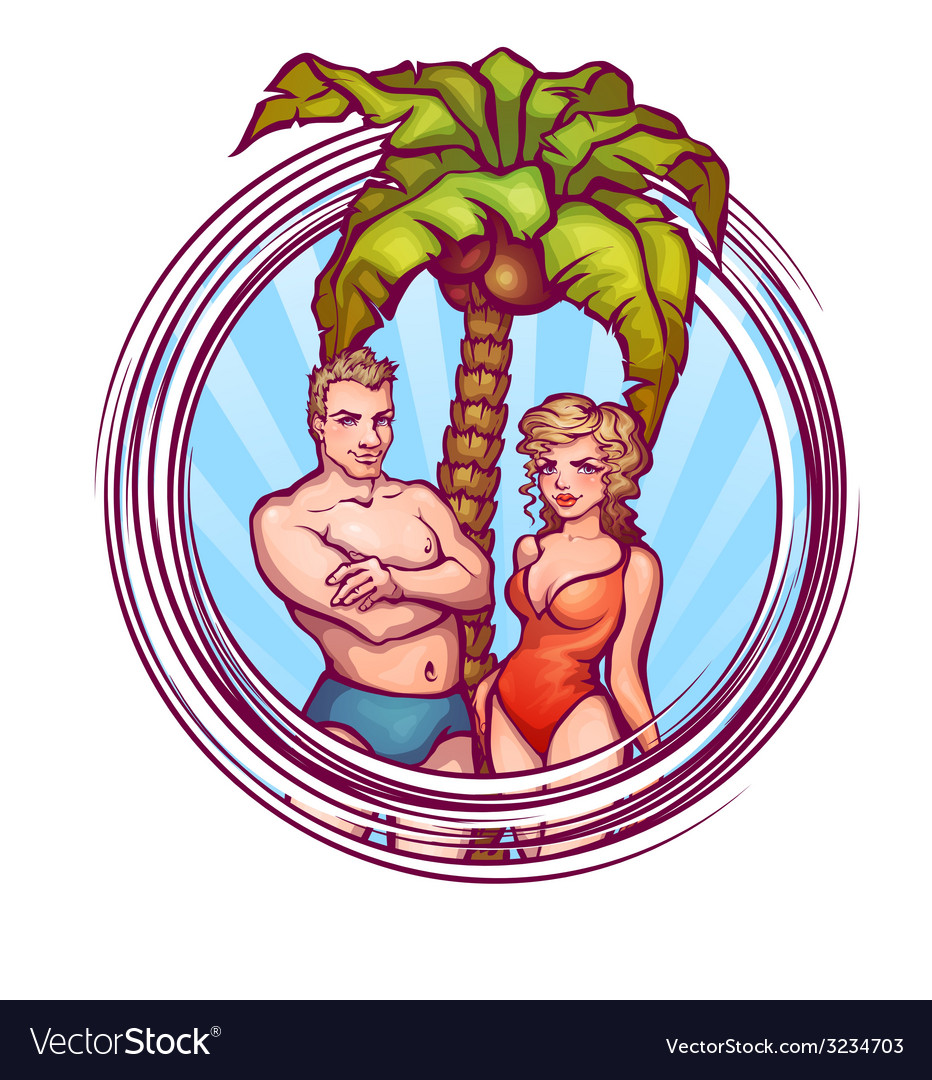 Man and women in swimsuit vector | Price: 3 Credit (USD $3)