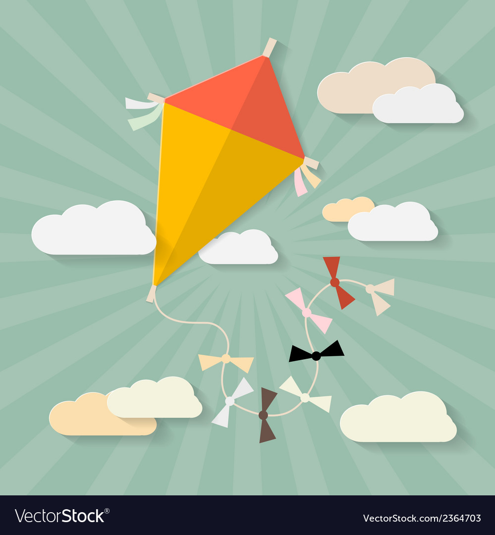 Retro paper kite on sky with clouds vector | Price: 1 Credit (USD $1)