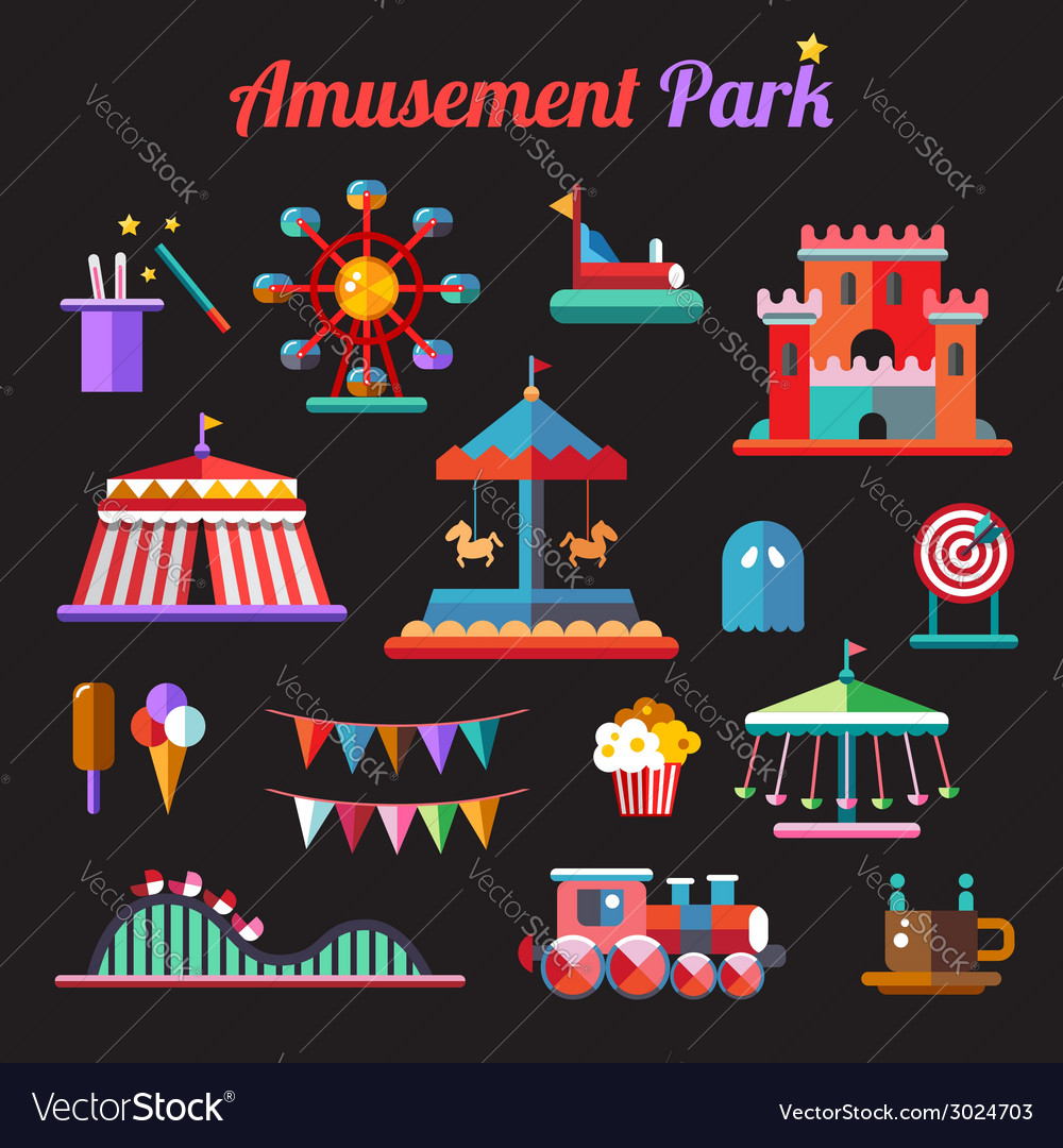 Set of flat design amusement park icons vector | Price: 1 Credit (USD $1)
