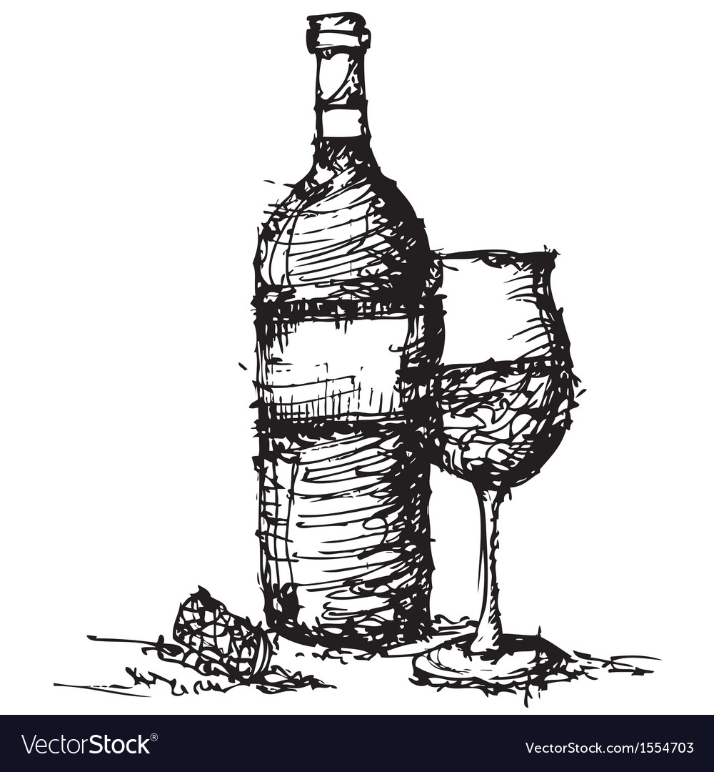 Sketch drawing of wine bottle and glass vector | Price: 1 Credit (USD $1)