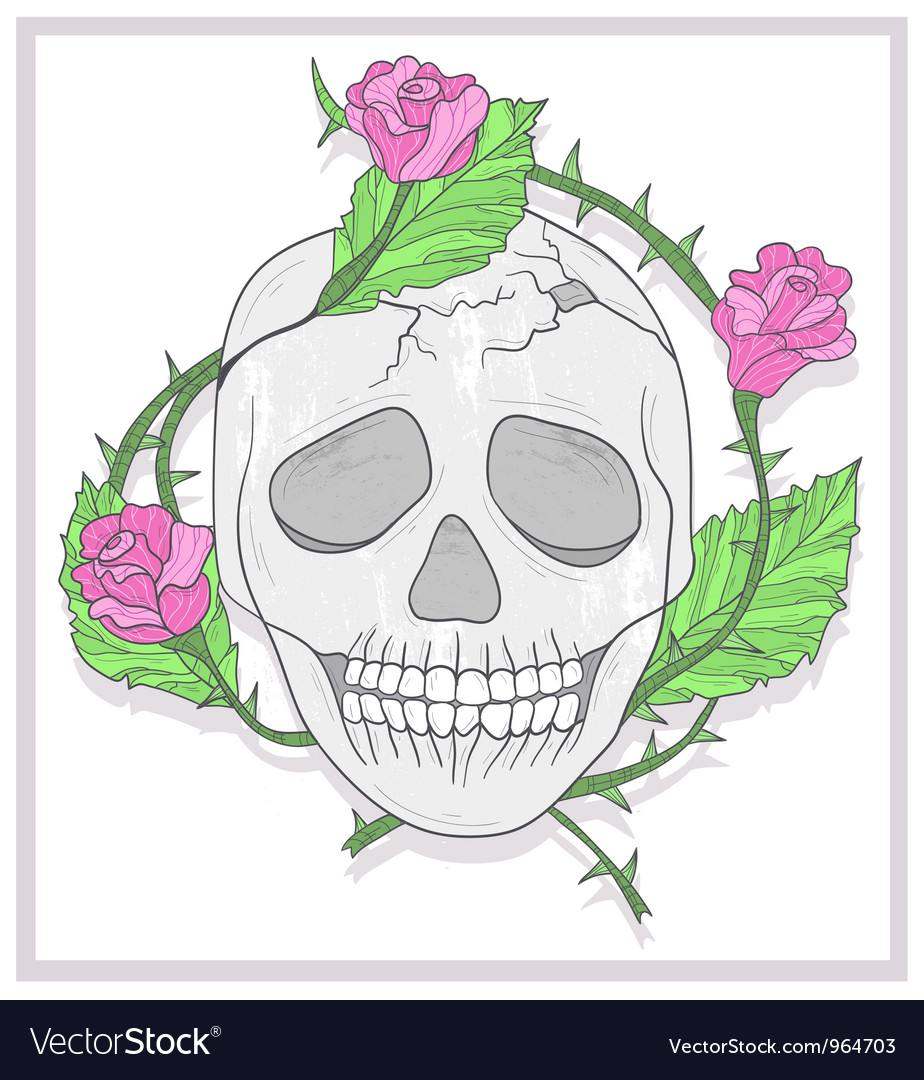 Skull and roses vector | Price: 1 Credit (USD $1)