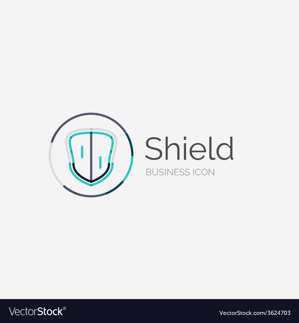 Thin line neat design logo shield icon vector | Price: 1 Credit (USD $1)