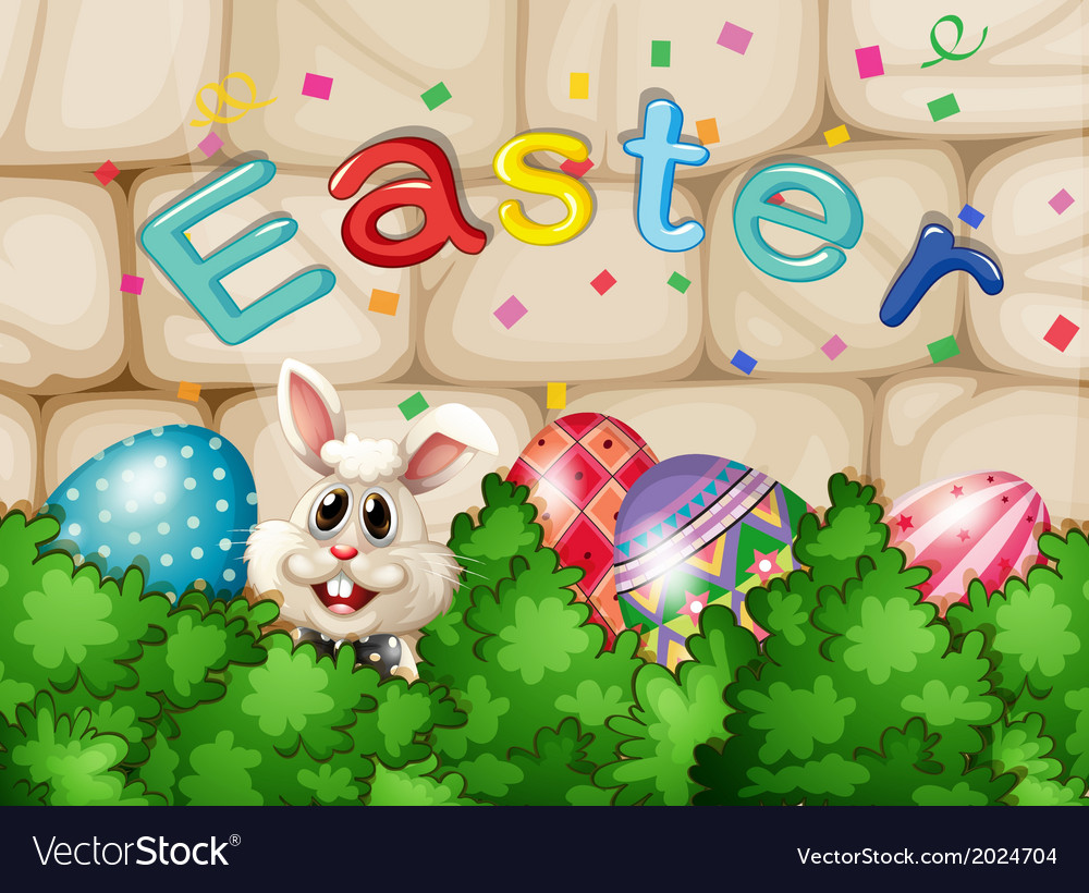 A bunny hiding with easter eggs vector | Price: 3 Credit (USD $3)