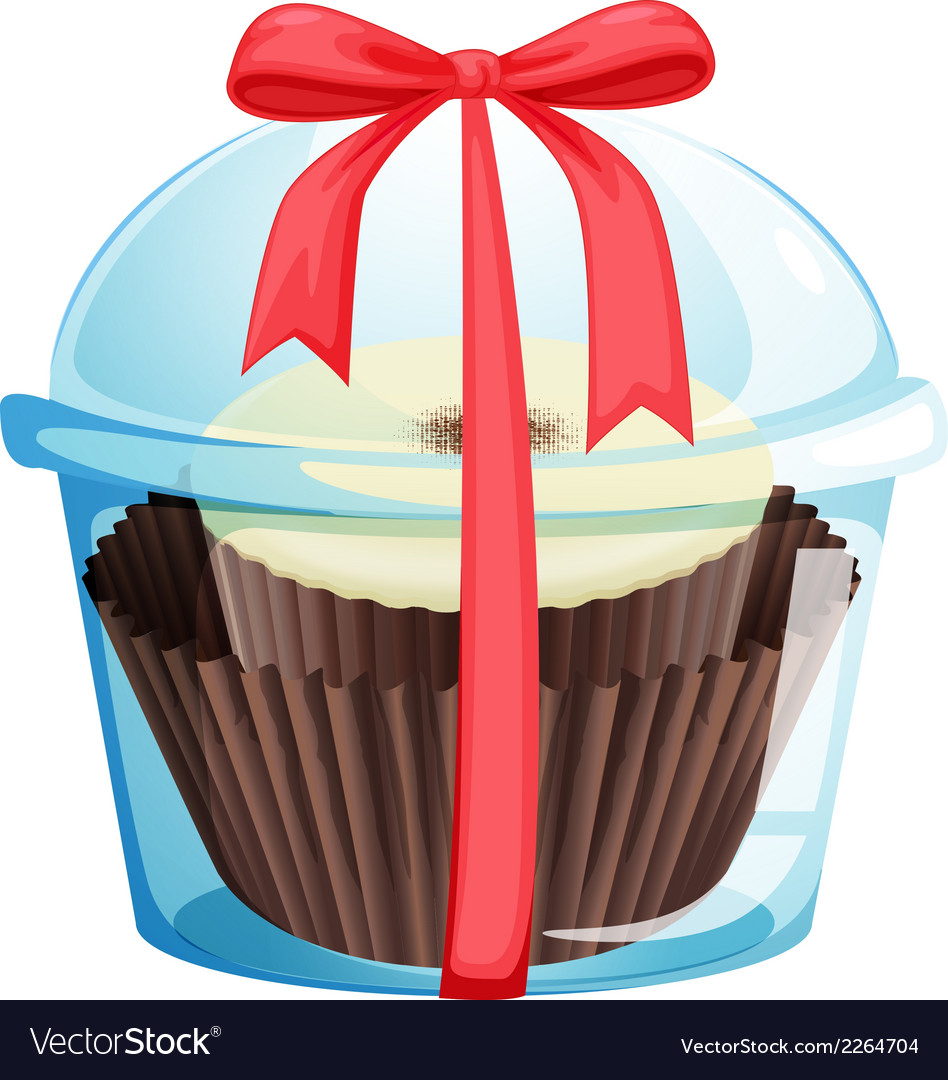 A cupcake inside a sealed container vector | Price: 1 Credit (USD $1)
