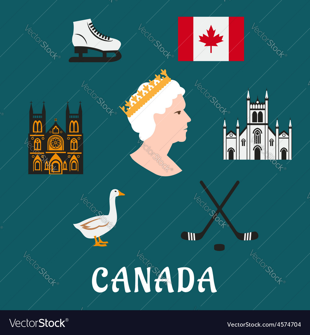 Canada travel flat icons and symbols vector | Price: 1 Credit (USD $1)