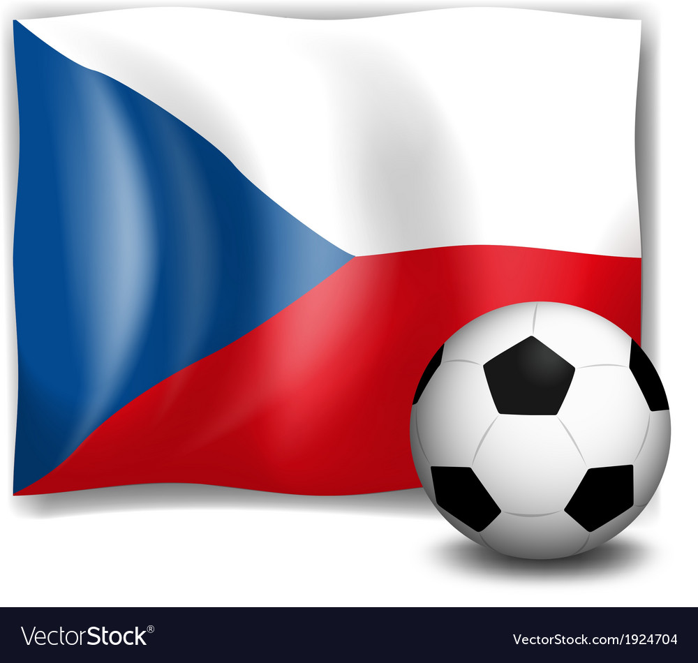 The flag of czech republic with a soccer ball vector   Price: 1 Credit (USD $1)