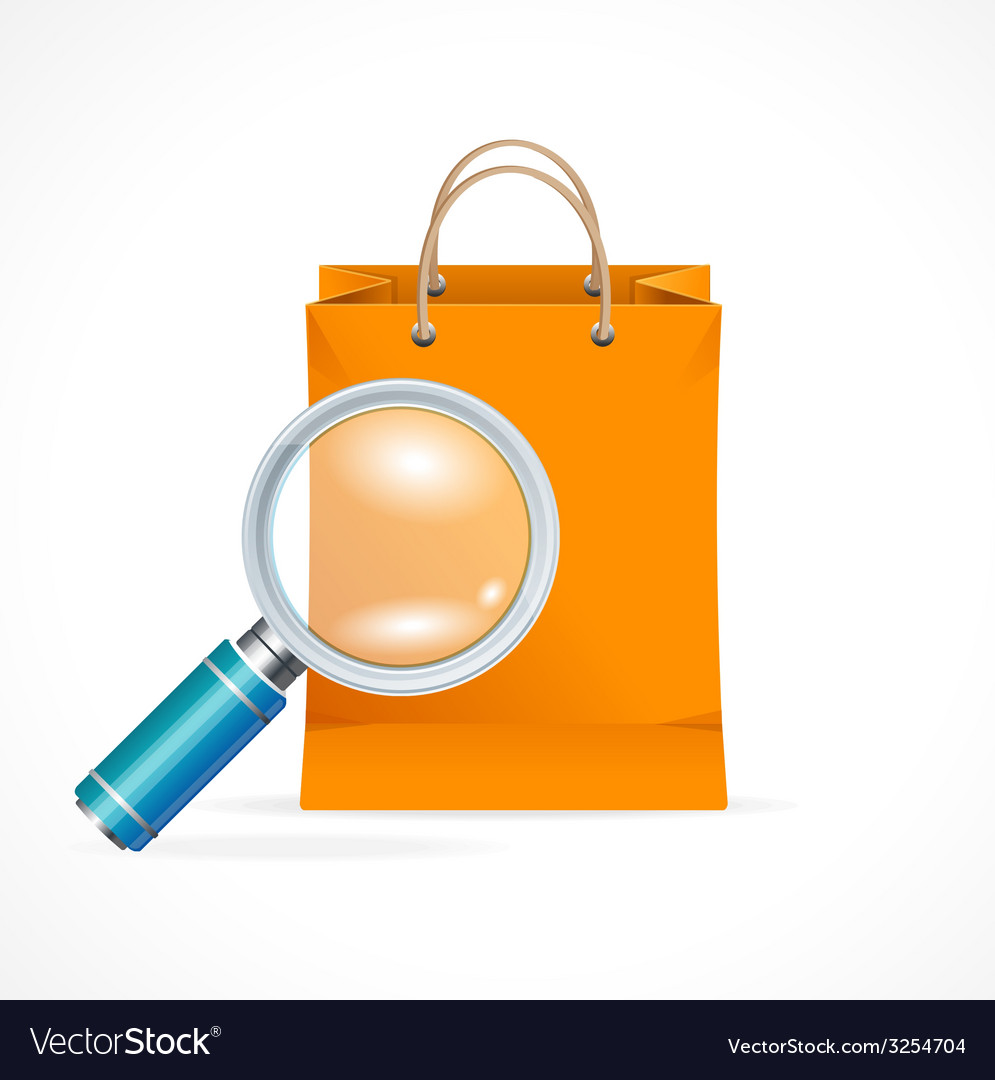 Isolated shopping bag with a magnifier vector | Price: 1 Credit (USD $1)