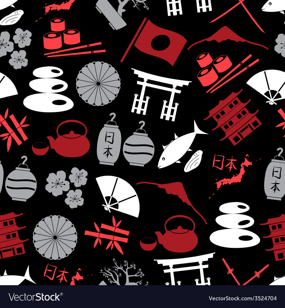 Japanese color icons seamless dark pattern eps10 vector | Price: 1 Credit (USD $1)