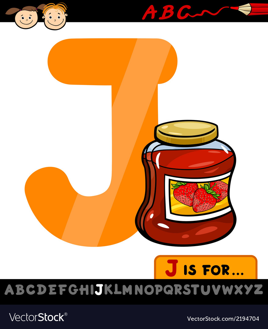 Letter j with jam cartoon vector | Price: 1 Credit (USD $1)