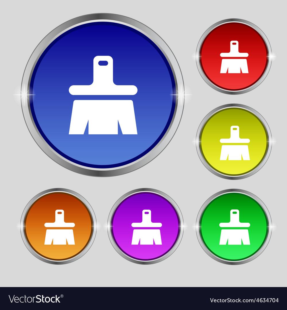 Paint brush artist icon sign round symbol on vector | Price: 1 Credit (USD $1)