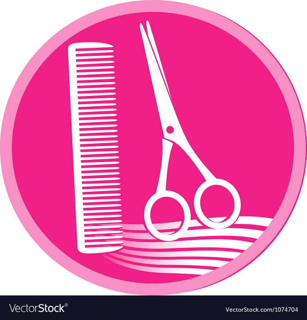 Symbol of hair salon with scissors and comb vector | Price: 1 Credit (USD $1)